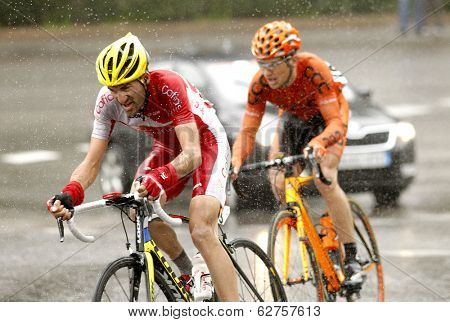 BARCELONA - MARCH, 30: Yoann Bagot of Cofidis Team rides during the Tour of Catalonia cycling race through the streets of Monjuich mountain in Barcelona on March 30, 2014