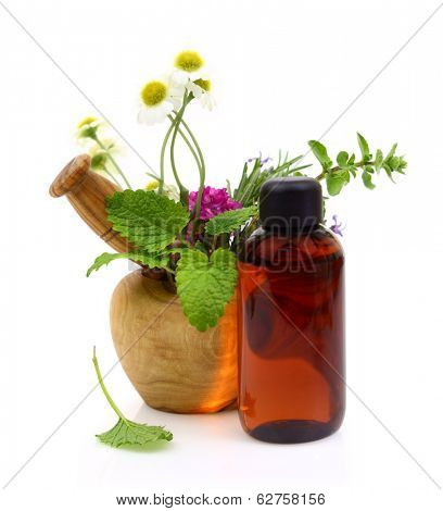 Mortar and pestle with fresh herbs and essential oil bottle
