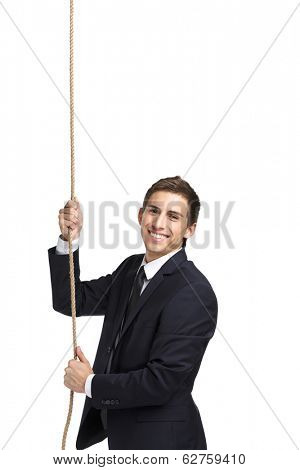 Half-length portrait of businessman swarming up the line, isolated on white. Concept of job promotion and hard work