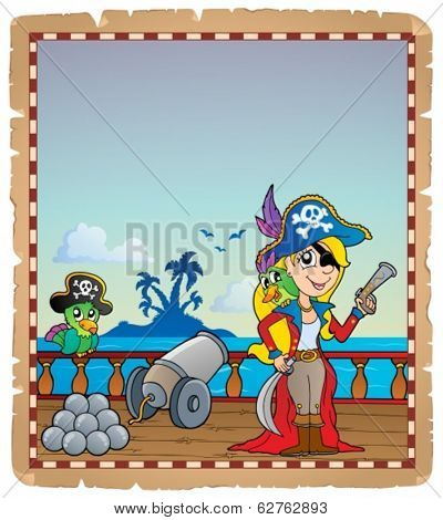 Parchment with pirate ship deck 4 - eps10 vector illustration.