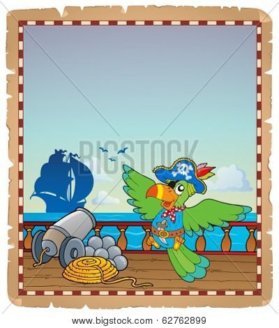 Parchment with pirate ship deck 6 - eps10 vector illustration.