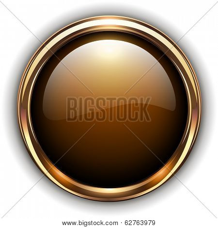 Gold button elegant glossy metallic, vector illustration