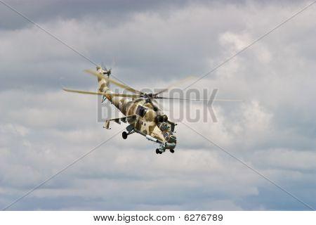 Helicopter Gunship In Flight