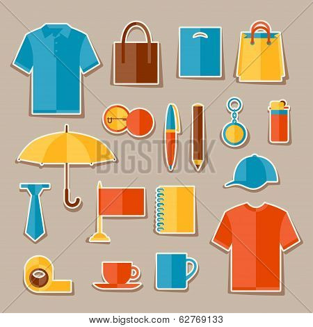 Icon set of promotional gifts and souvenirs.
