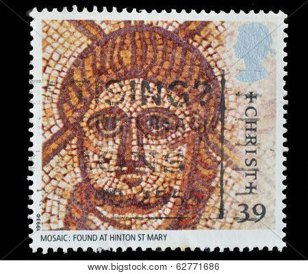 Great Britain Postage Stamp Shows Mosaic Of Christ Roman Artifacts