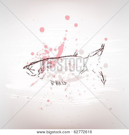 Sketch. Fish. Spray. Grunge style.