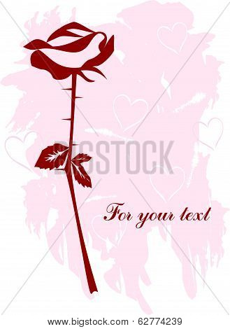 Greeting card with stylized rose. Vector illustration.