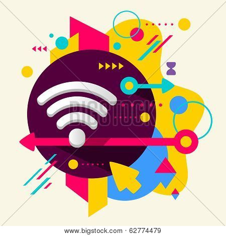 Wi Fi On Abstract Colorful Spotted Background With Different Elements