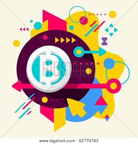Bit Coin On Abstract Colorful Spotted Background With Different Elements
