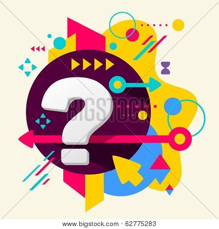 Question Mark On Abstract Colorful Spotted Background With Different Elements