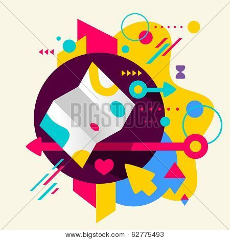 Map On Abstract Colorful Spotted Background With Different Elements
