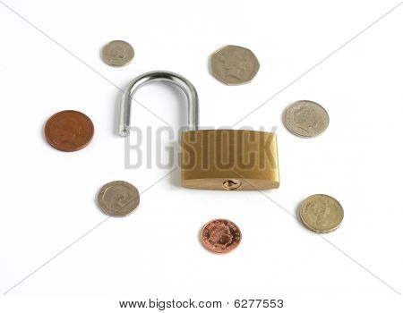 Coins With Unlocked Open Padlock