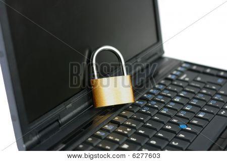Laptop With Locked Closed Padlock