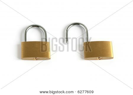 Locked Closed And Unlocked Open Padlocks
