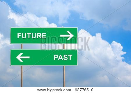 Future And Past On Green Road Sign