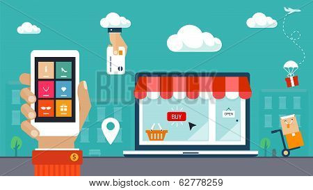 Flat design vector illustration. E-commerce, shopping & delivery
