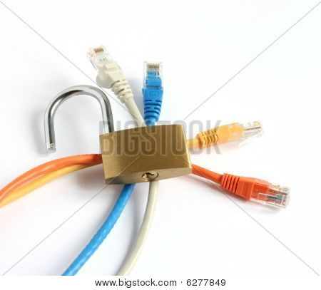 Unlocked Padlock With Four Computer Network Cables