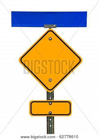 Blank Diamond Caution Sign With Signs Above And Below