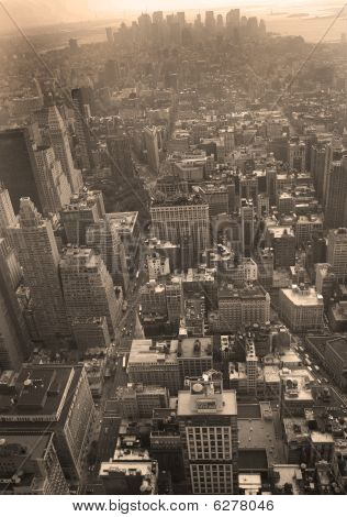 Aerial View Of Manhattan Facing Downtown