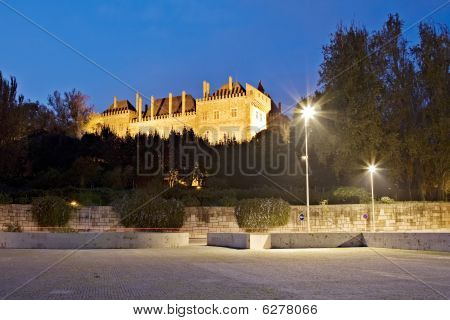 Night View Of Paço Dos Duques De Bragança Palace, In Guimarães Portugal, North Of The Country