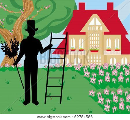 Illustration Of Chimney Sweeper At Work