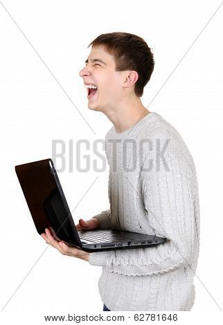 Teenager Laughing With Laptop