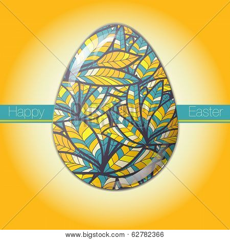 Easter Egg Greeting Card Drawn Feather Ornament
