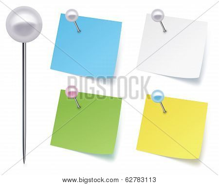 Pushpins With Paper. Vector Illustration
