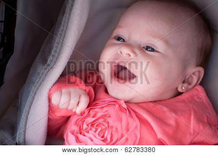 Smiling Baby In The Pram