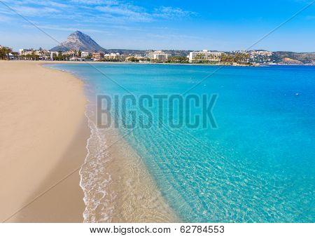 Javea playa del Arenal beach in Mediterranean Alicante at Xabia Spain