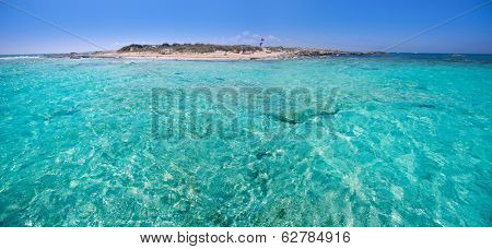 Formentera channel between Illetes and Espalmador island in Balearic Mediterranean