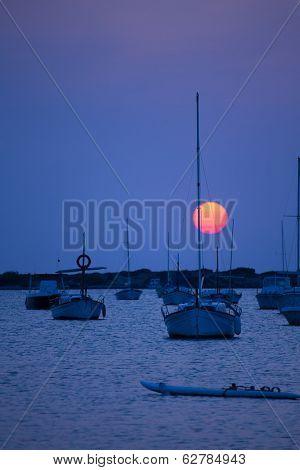 Formentera sunset at Estany des Peix lake in Balearic Islands