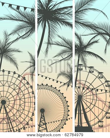 Set Of Banners With Roller-coaster And Ferris Wheel.