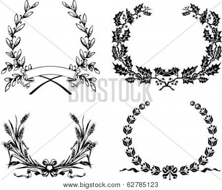 Set Of Four Original Heraldic Laurel Wreath