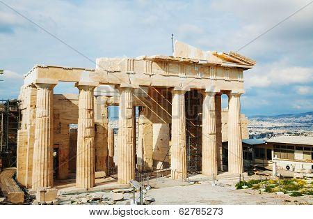Propylaea At Acropolis In Athens, Greece