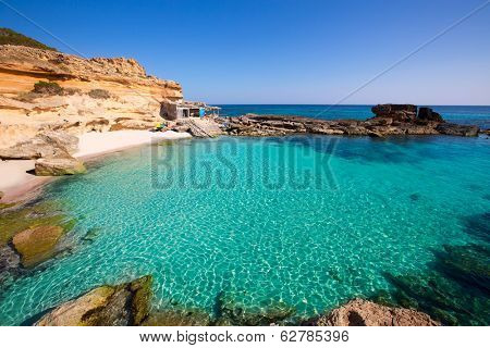 Formentera Es Calo des Mort beach turquoise Mediterranean at Mitjorn of balearic islands