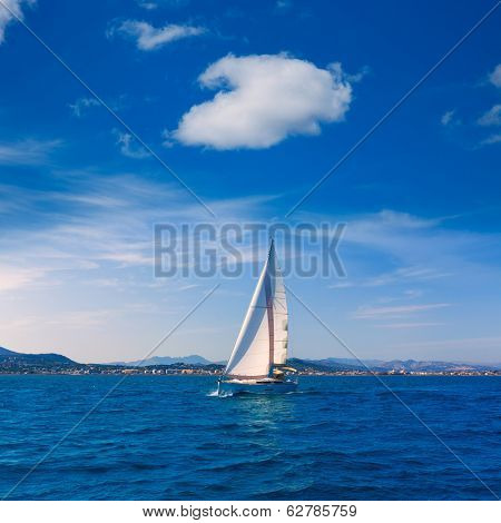 Javea sailboat sailing in Xabia at Mediterranean Alicante of Spain
