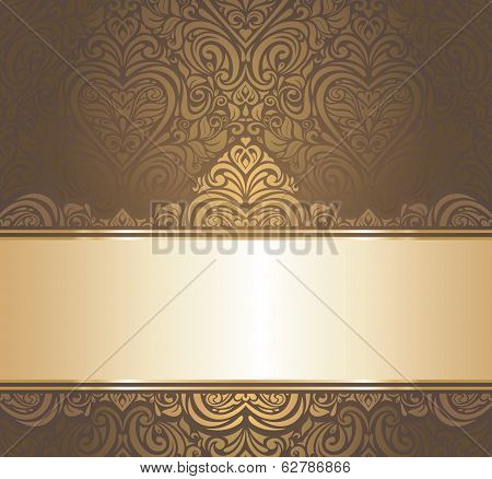Brown & gold vintage wallpaper design
