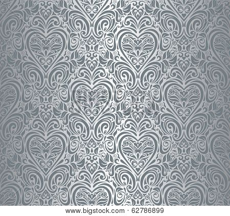 Silver luxury vintage damask design