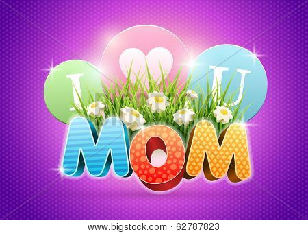 Mother's Day Poster design template. Elements are layered separately in vector file.