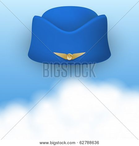 Stewardess hat of air hostess uniform.