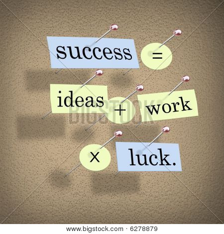 Success Equals Ideas Plus Work Times Luck