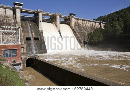 Expulsion of water after heavy rains in the embalse de Puente Nuevo near Cordoba Andalusia Spain