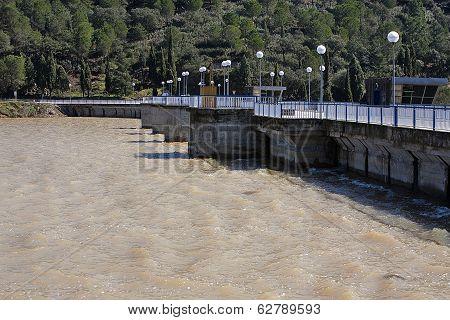 Walls of the dam in the Puente Nuevo reservoir, near Córdoba, Spain