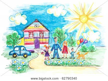 Childrens Sketch With Happy Family