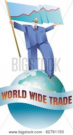 Giant business man is walking across the globe with a flag of sales graph. Editable vector illustration.