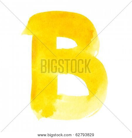 B - Watercolor letters over white background