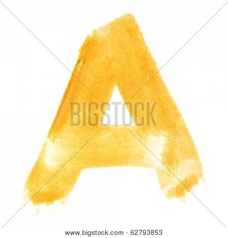 A - Watercolor letters over white background