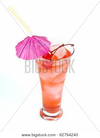 Red Lemonade With Party Straw In Hand On White