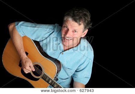 Dynamic Guitarist On Black